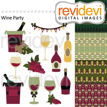 Wine tasting clip art - wine bottles and wine glasses. Win