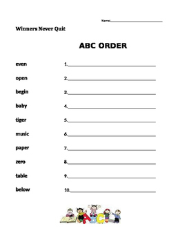 Winners Never Quit - ABC Order -  Journeys 1st Grade