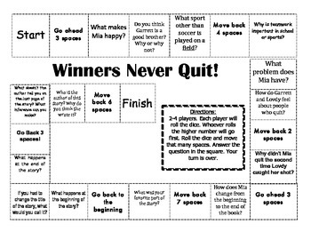 """""""Winners Never Quit!"""" Comprehension Game Board- Journeys s"""