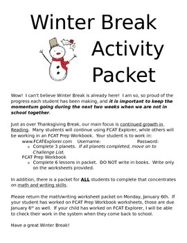 Cover Page for Winter/Christmas Break Activity Packet - Co