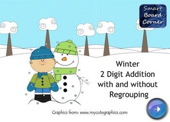 Winter 2 Digit Addition SMART Board Lesson
