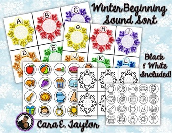 Winter ABC Beginning Sound Sorting Center