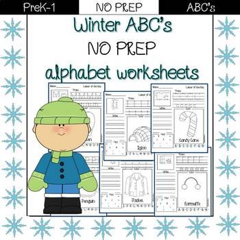 Winter ABC: alphabet traceables NO PREP