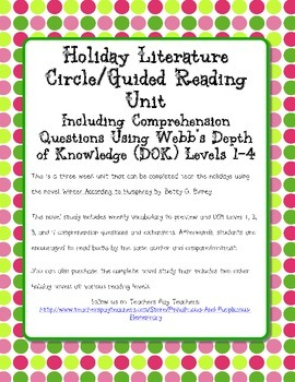 Winter According to Humphrey Novel Study DOK Questions Ext