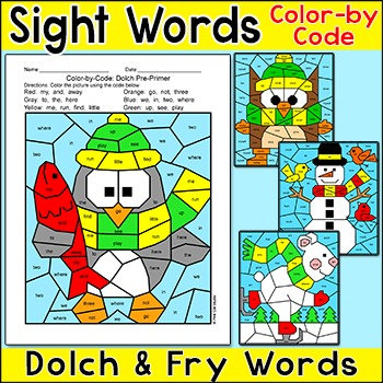 Winter Activities Color by Sight Words: Penguin, Snowman,