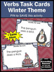 Verbs Task Cards for Winter Activities & Games (Penguins &