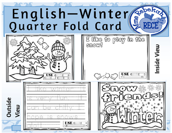 Winter Activity Quarter Folding Card (English)