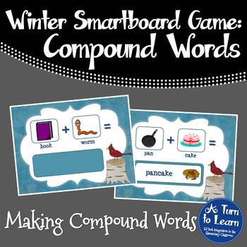 Winter Adding Compound Words and Pictures Game for Smartbo