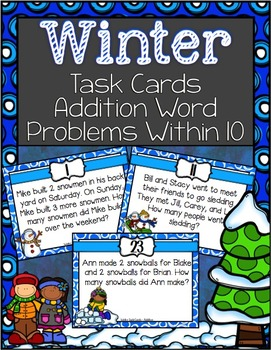 Winter Addition Task Cards ~ Sums within in 10