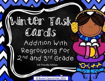 Winter Addition With Regrouping Task Cards