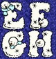 Winter Alphabet 26 Fluffy, Frosty Capital Clip Art Letters