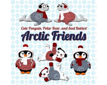 SALE- Winter Animals Clipart, Polar Bear, Seal, Penguin