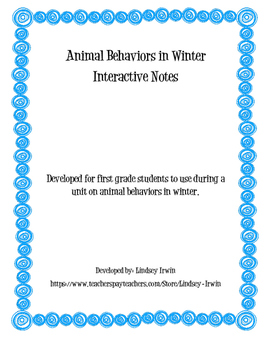 Winter Animals Interactive Notes