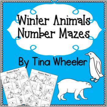 Winter Animals Number Mazes