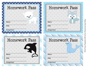 Winter Arctic Animals Homework Passes