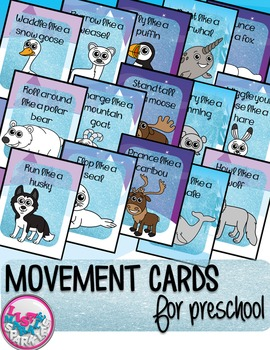 Winter Arctic Animals Movement Cards for Preschool