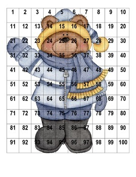 Winter Bear Hundreds Chart Puzzles