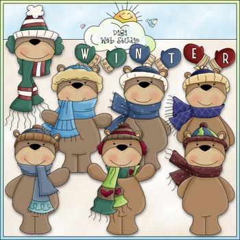 Winter Bears Clip Art - Winter Clip Art - Teddy Bears Clip