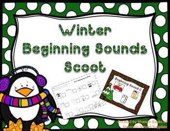 Winter Beginning Sounds Scoot Literacy Center