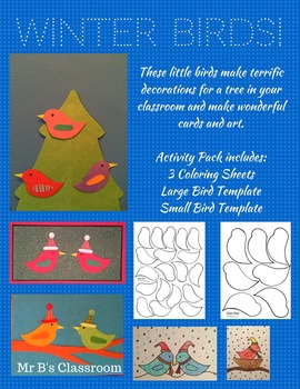 Winter Bird Activity Pack Free Templates and Coloring Sheets