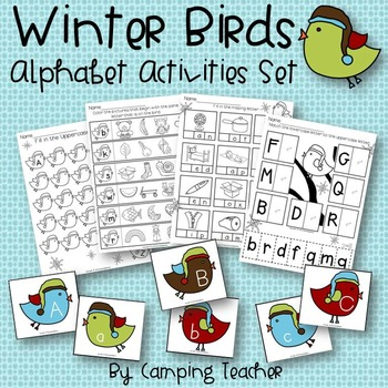 Winter Birds Alphabet Center Activities Set and No Prep Pr