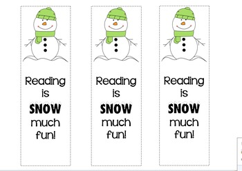 Winter Bookmarks! Reading is SNOW much fun!