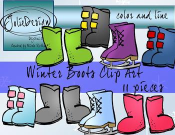 Winter Boots Clip Art - Color and Line Art 13 Piece Set