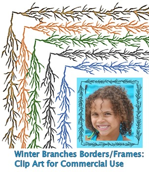 Winter Branches Borders/Frames: Clip Art for Commercial Us