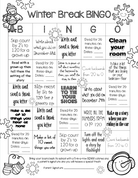 Winter Break Homework BINGO for First Grade