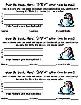 Winter Break Reading Incentive Bookmark