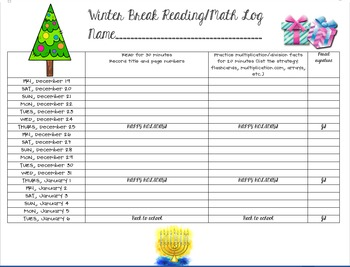 Winter Break Reading & Math Log