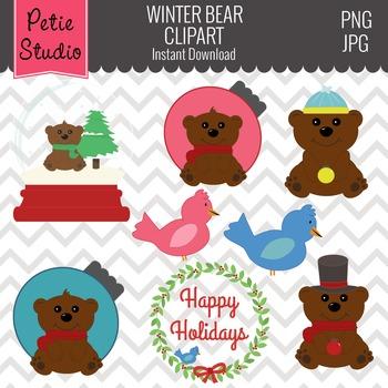 Winter Brown Bear Clipart // Christmas Ornament Clipart -