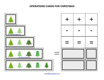 Winter Chrismas Tree operations cards prek primary math ad