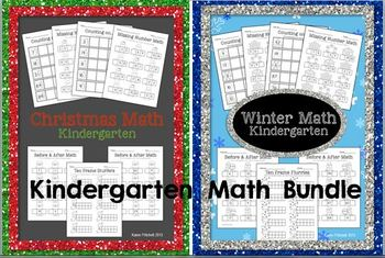 Winter & Christmas Math Bundle - sequencing, missing numbe
