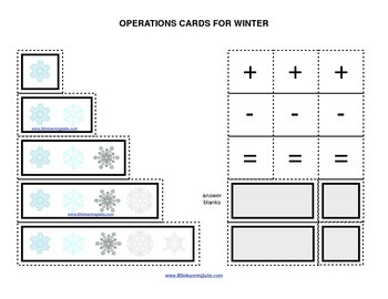 Winter Christmas Snow operations cards prek primary math a