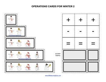 Winter Christmas snowman operations cards prek primary mat