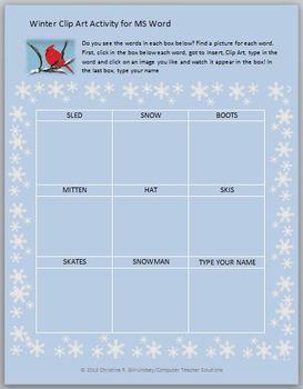 Winter Clip Art Activity for MS Word--Grades K-2
