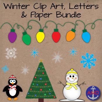 Winter Clip Art & Paper Bundle-Penguins, Snowmen, Snowflak