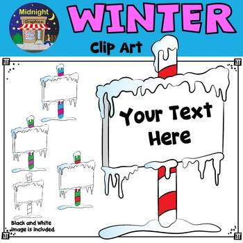 Winter Clip Art - Signs with Snow