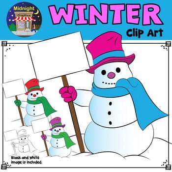 Winter Clip Art - Snowman Holding Sign