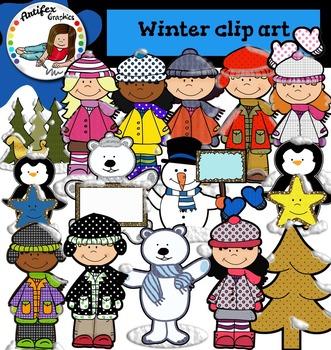 Winter Clip art - Color and black/white- 45 items!