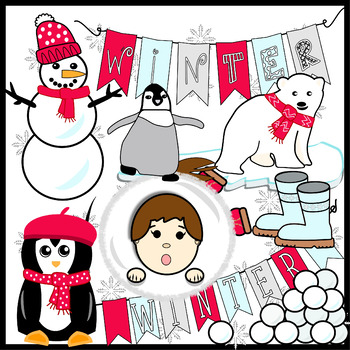 Winter Clipart, Playing in Snow, Cute Winter Animal Clipart