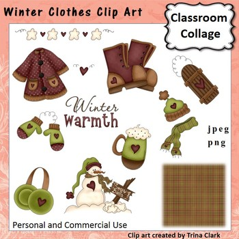 Winter Clothes Clip Art - color - personal & commercial use