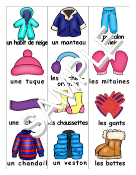 Winter Clothes FRENCH MEGA Pack (games,worksheets,workbook