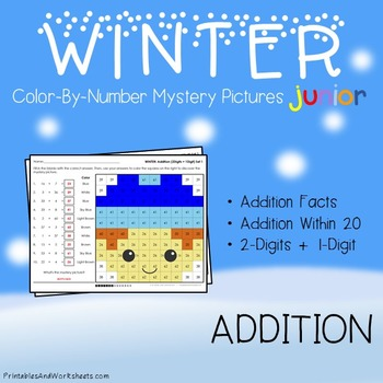 Winter Color-By-Number: Addition (K-2)