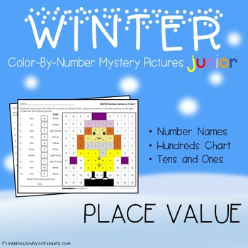 Winter Color-By-Number: Place Value (K-2)