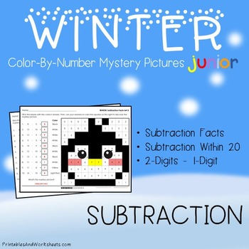 Winter Color-By-Number: Subtraction (K-2)