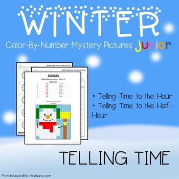 Winter Color-By-Number: Telling Time the Hour / Telling Ti