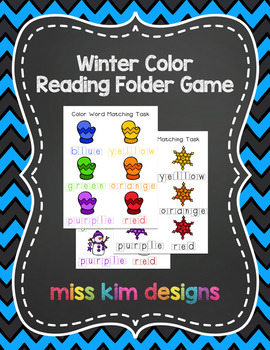 Winter Color Word Reading Folder Game for students with Autism