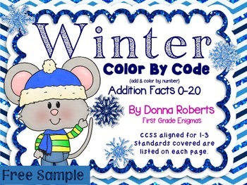 Winter Color by Code Color by Answers Basic Addition Facts